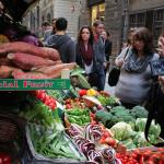 Shopping the local Florence markets for our fresh cooking ingredients.
