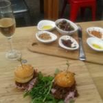 Lamb sliders, mixed olives, dukkah and tepanade