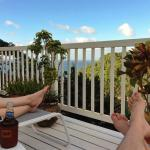 Relaxing at the pool with view of Marigot Bay