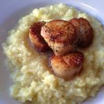 Pan seared Sea Scallops with grits special request