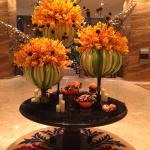 Halloween floral arrangement @ the hotel lobby.
