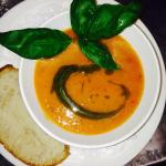 Fresh tomato soup with basil oil on the load shedding menu of Oude Wellington Restaurant