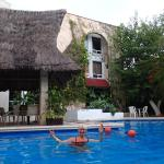 garden pool 100 feet from the busy ADO bus station in downtown Cancun