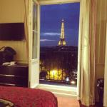Our room and its glorious view of the Eiffel Tower!