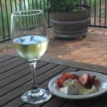 Local wine, cheese and fruit on our terrace