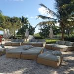 Soft seating near beach and pool