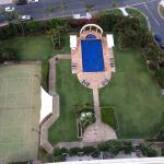 Outdoor pool and immaculate gardens from 25th floor