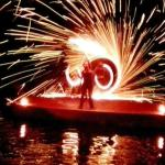 Fire show on the lagoon barge next door.