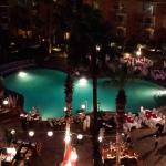 Nighttime view of the Pool before Dinner