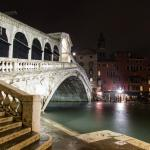 Rialto Bridge in December during heavy rain..