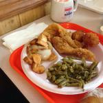 Fried catfish fillets with potatoes and green beans