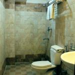 Clean and spacious bathroom with hot shower, bidet, basic toiletries, and plenty of towels