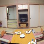 Living and sleeping area of Japanese room Notice the balcony area on the left which can be used