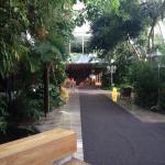 walk way to restaurant and pool/sitting area.