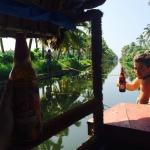 Enjoying a cold beer on the houseboat