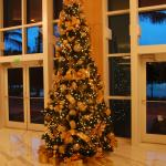 Christmas tree in hotel lobby