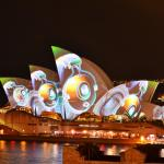 Beautiful view of Opera House during Vivid Sydney