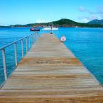 The dock at the Cove - the safest way to enter the beach.