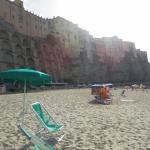 The beach with the city of Tropea, above