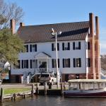 Barker House showing a Tour Boat at Christmas