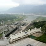 Three Gorges Dam - Commercial Ships Approaching the Ship Locks