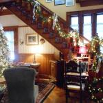 Holiday decorated Keyhole staircase
