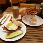 Brunch Burger with fries and a shake