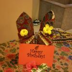 Happy birthday sign on my spa bed