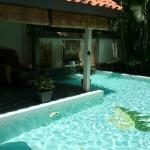 One of the many pools in the compound around the foot spa area
