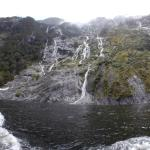 Some of the many waterfalls during our visit to Milford Sound
