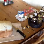 The loaf and the jams/marmalade!