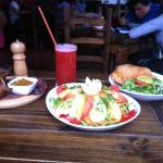 Garden salad, tucumana filled with a kind of potato/vegetable curry and a strawberry juice. Huge