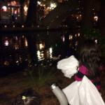 Enjoying the lights, ducks, and candle lights along the Riverwalk