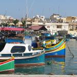 Colourful boats in Marsaxlokk harbour
