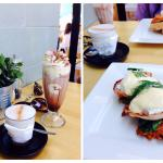 Chai, iced choc, pumpkin fritters and eggs Benny!