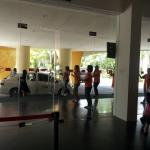 Harris staffs dancing together at lobby and also at breakfast area..