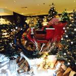 An amazing Christmas display in the lobby of the hotel. The kids love playing in the sleigh.