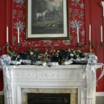 Living room mantle beautifully decorated for Christmas