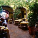 The main breakfast and dining area lobby/courtyard