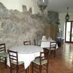 The rock wall in the dining area.