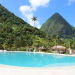 The huge pool in the shadow of the Pitons
