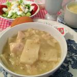 Chicken and dumplings, fresh salad and hot coffee. Delicious!!! Carpe diem!