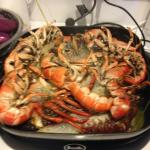 Cooking mud crab and lobsters (pots and pans from Quest)