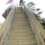 Stairway up Chimney Rock - the only way up.