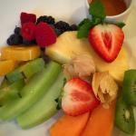 Tropical fruit plate at breakfast