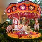 A working carousel made of flowers