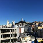view from the balcony, Coit Tower in the distance