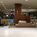 Large lobby with wide fireplace