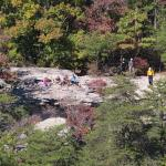Hikers across the canyon