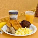 Our complimentary breakfast consists of waffles, eggs, sausage, and so much more!